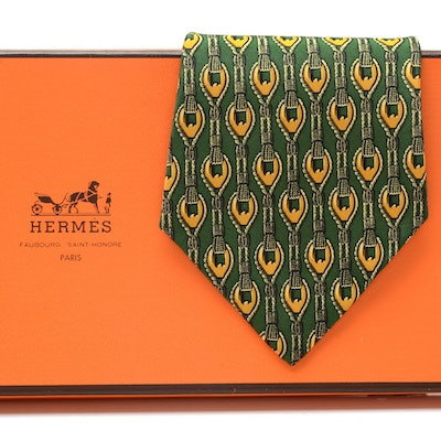 Hermès Silk Necktie in Green and Gold Rope Pattern, #619 TA, Made in France
