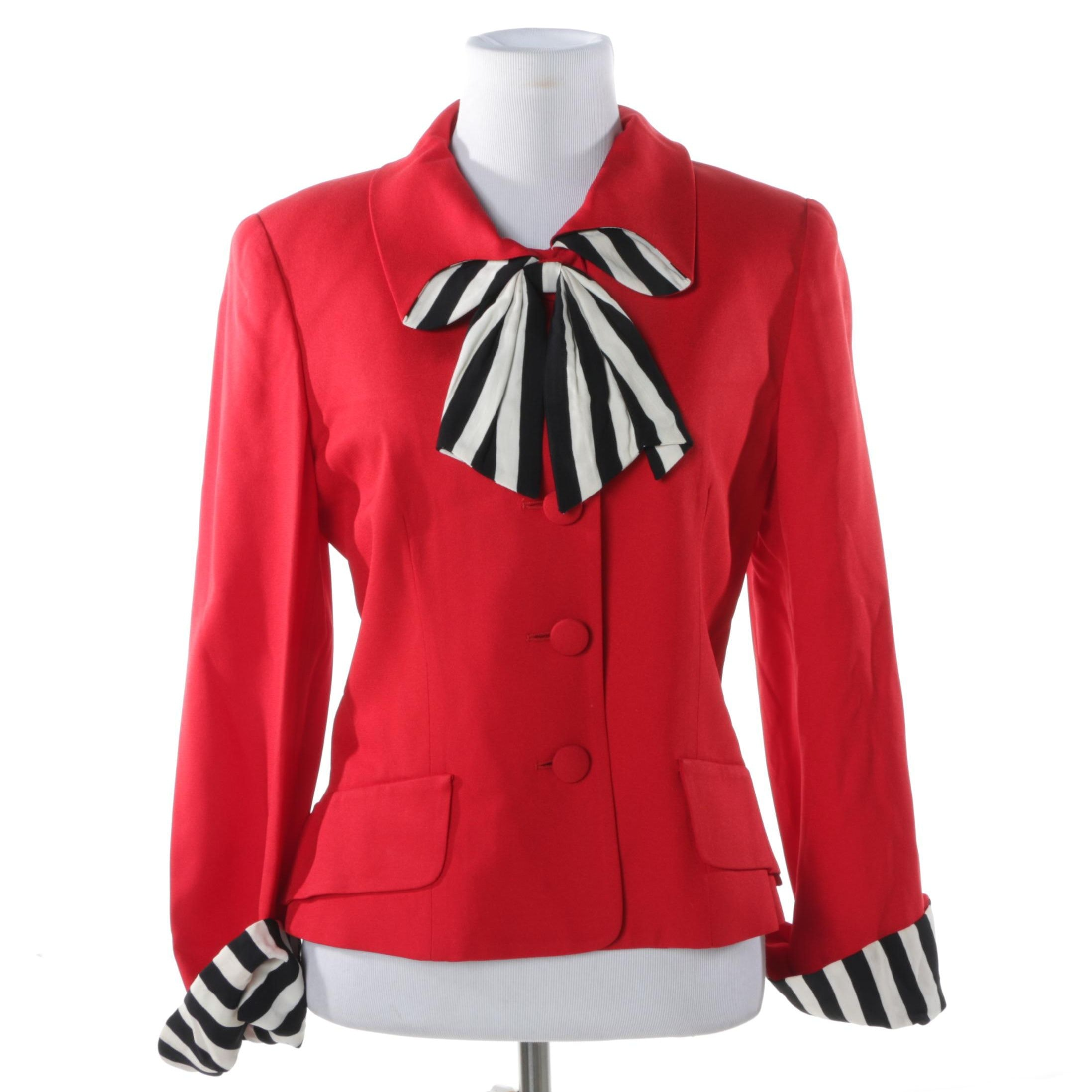 Moschino Cheap and Chic Red Jacket with Striped Accents