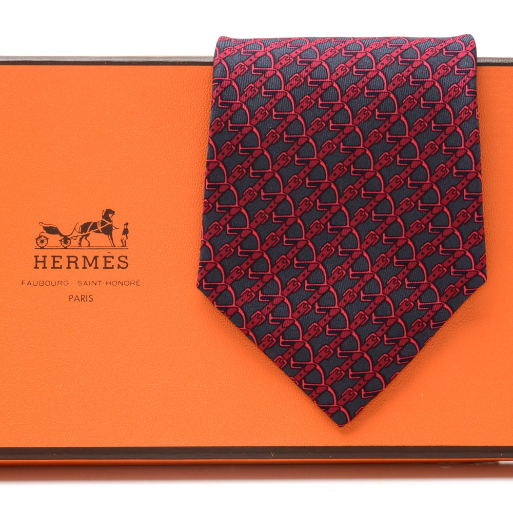 Hermès Red and Navy Blue Silk Equestrian Necktie, #7020 TA, Made in France