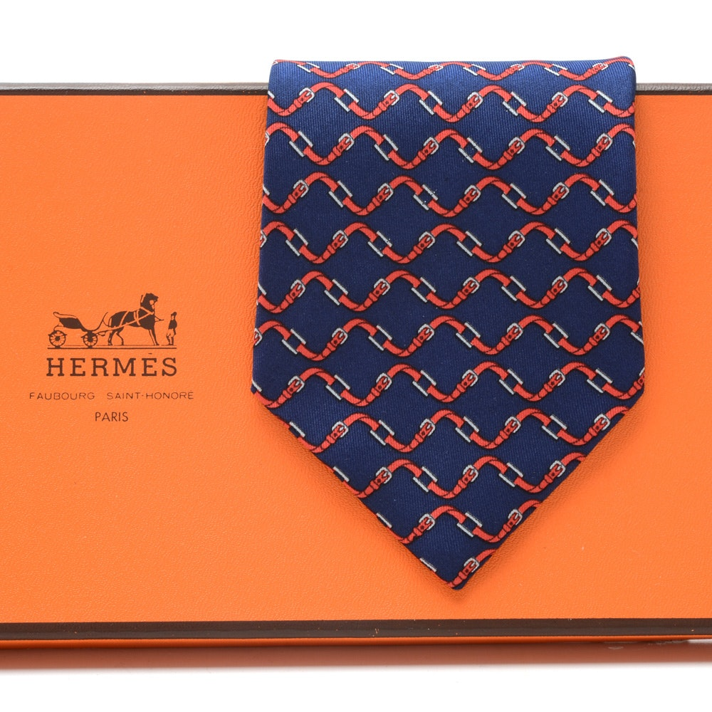 Hermès Silk Necktie in Wavy Navy Blue and Red Silk Twill, Pattern #998 SA