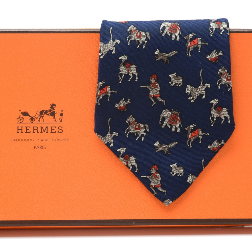 "Hermès ""Chasse en Inde"" Navy Blue Silk Necktie, Pattern 963 IA, Made in France"