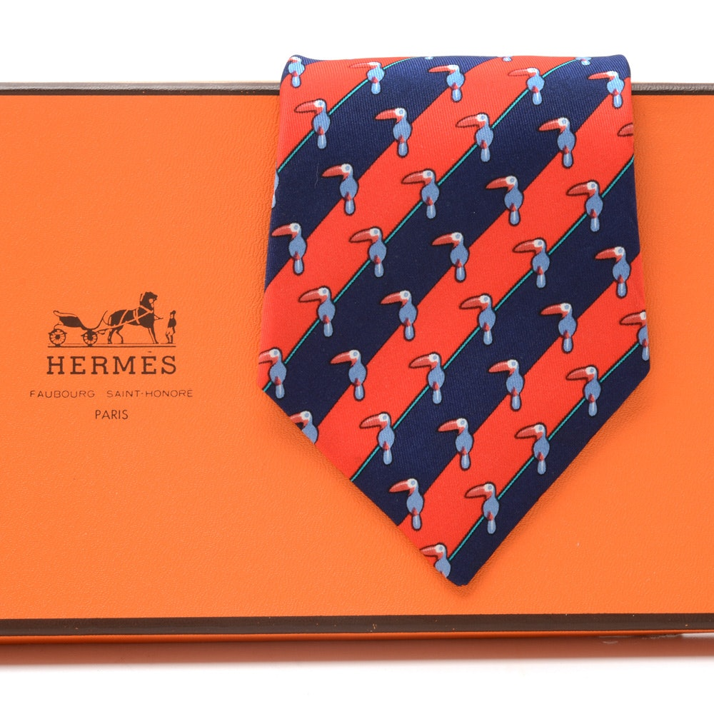 Hermès Necktie in Vibrant Stripe with Toucans, #7065 TA, Made in France