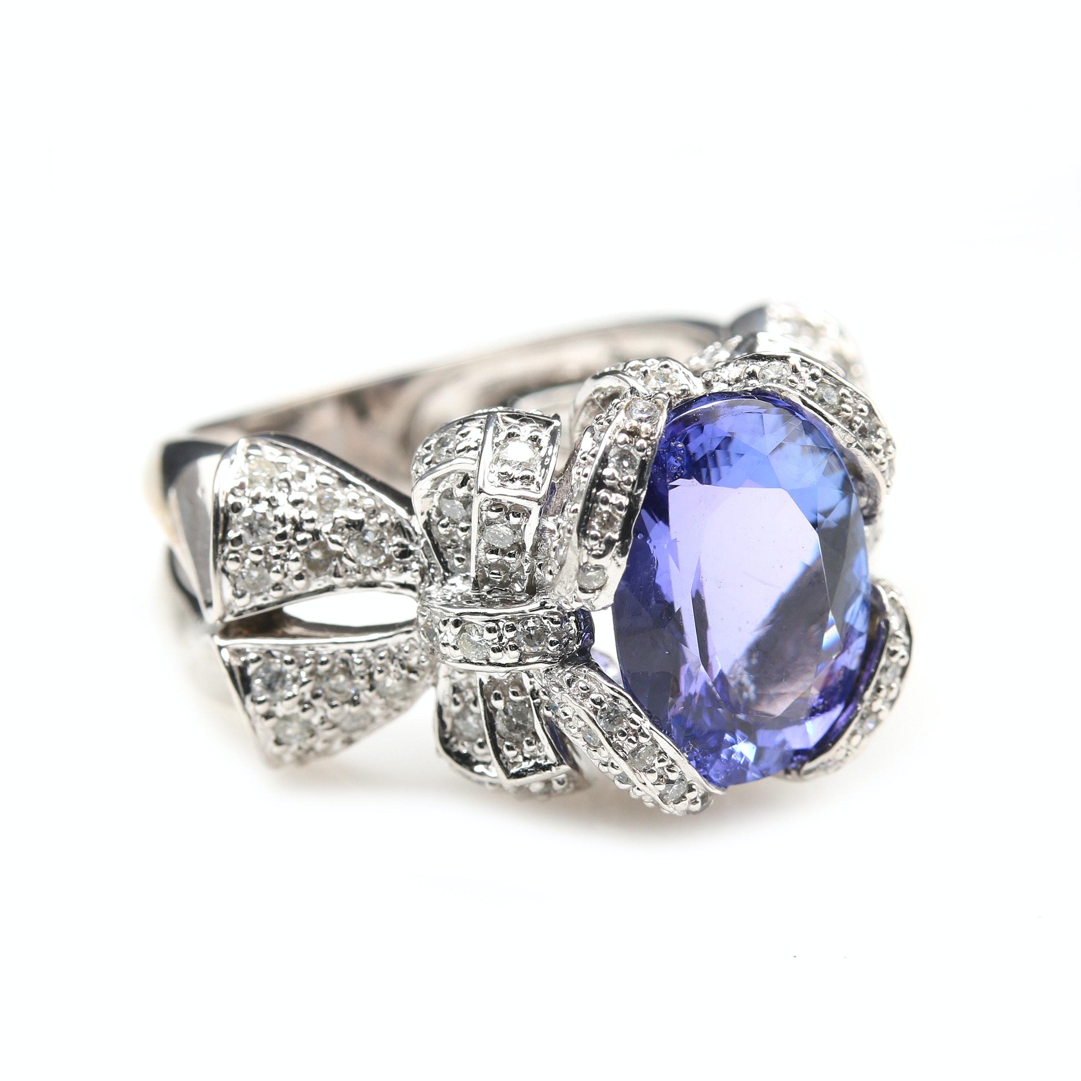 14K White Gold 4.24 CT Tanzanite and Diamond Statement Ring