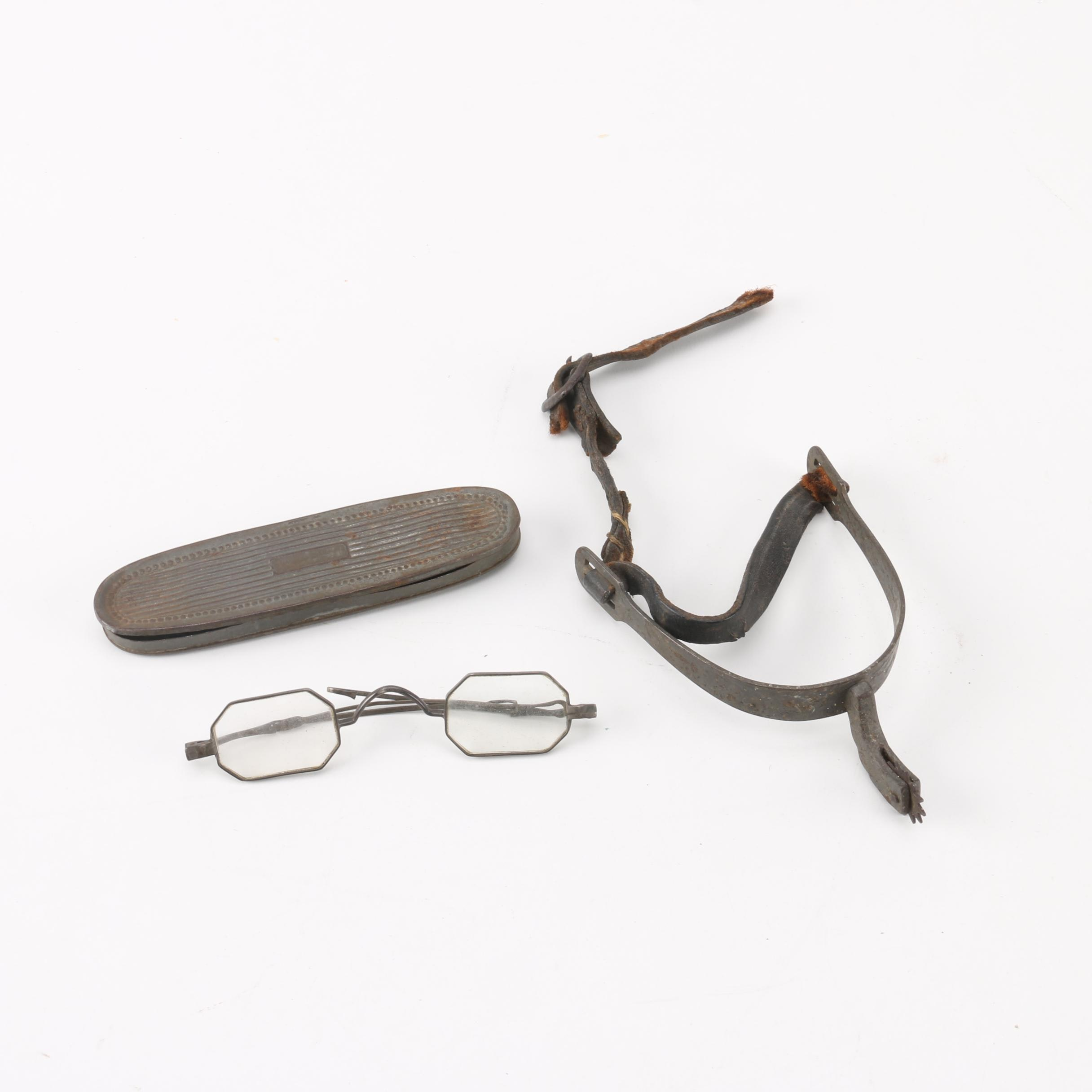 Antique Spectacles and Rowel Spur