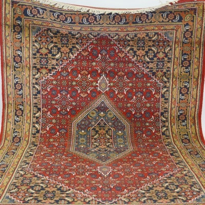 """Hand-Knotted Indo-Persian """"Bijar"""" Wool Area Rug"""