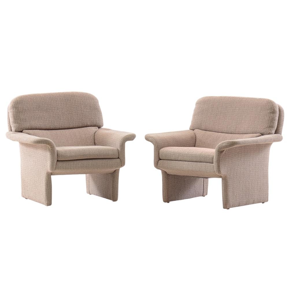 Pair of Mid Century Modern Gray Fabric Armchairs