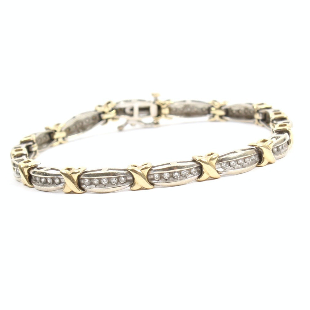 10K Yellow and White Gold 1.00 CTW Diamond Bracelet