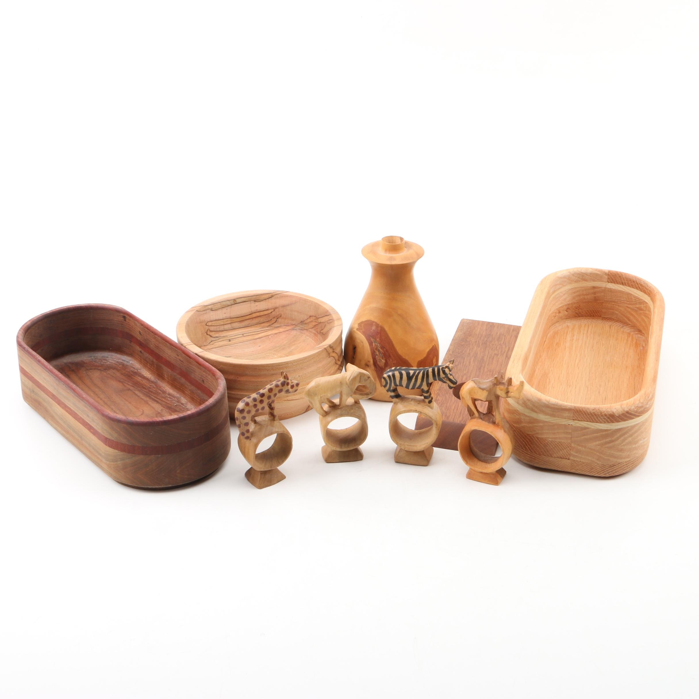 Handcrafted Wood Planter and Bowl by Steve Winkle and Table Accessories