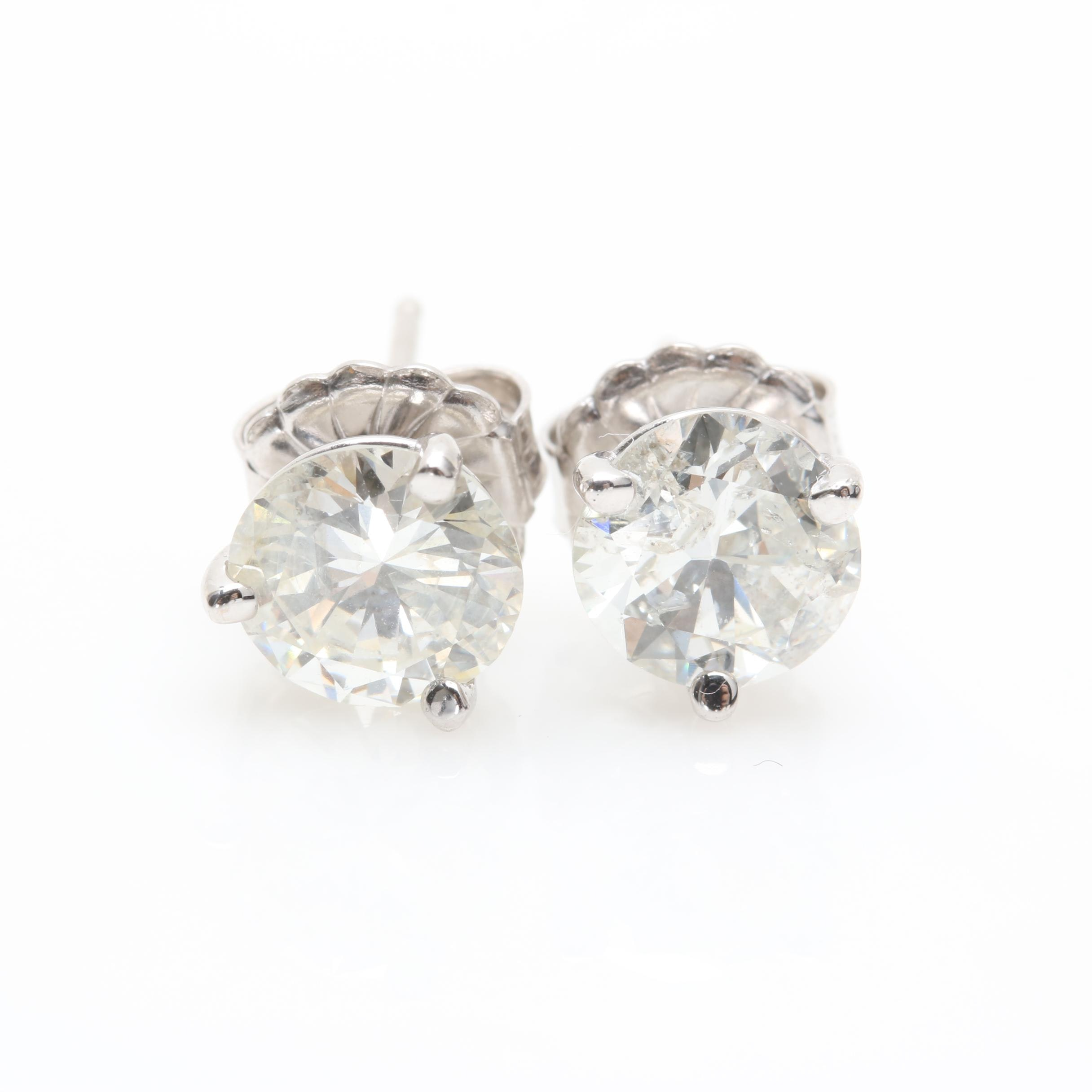 14K White Gold 1.88 CTW Diamond Martini Set Stud Earrings