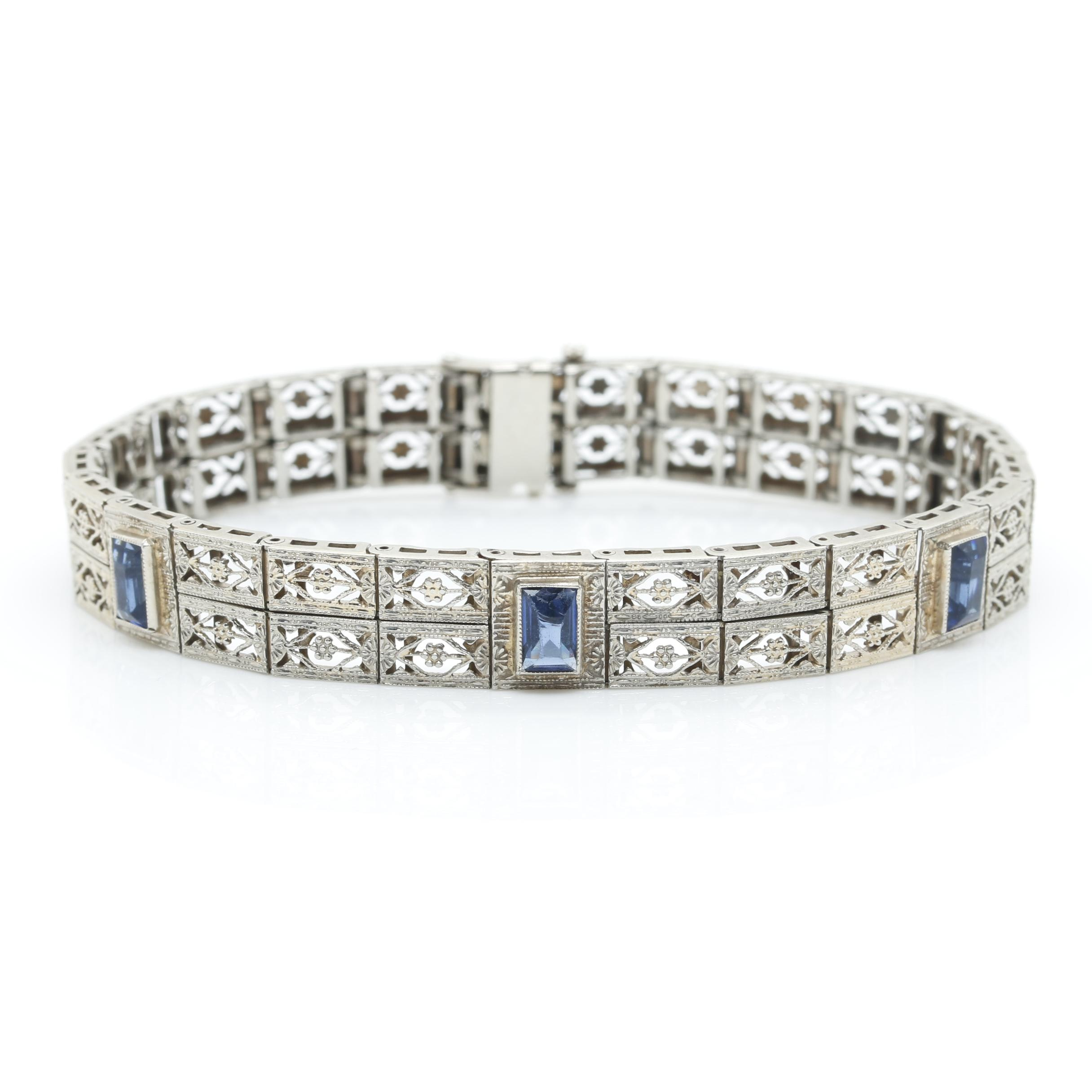 Art Deco 10K White Gold Blue Glass Bracelet