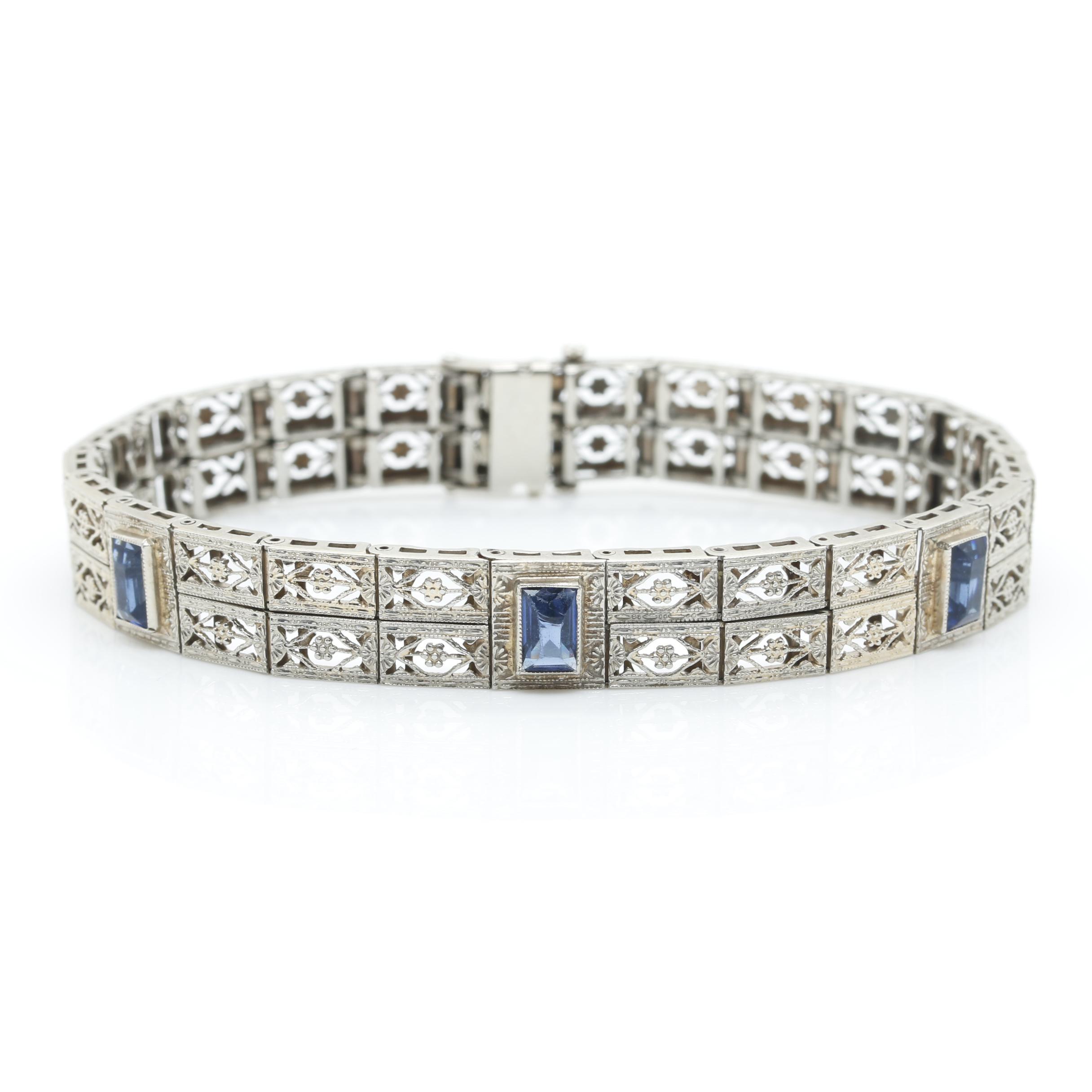 Art Deco 10K White Gold Blue Glass Bracelet