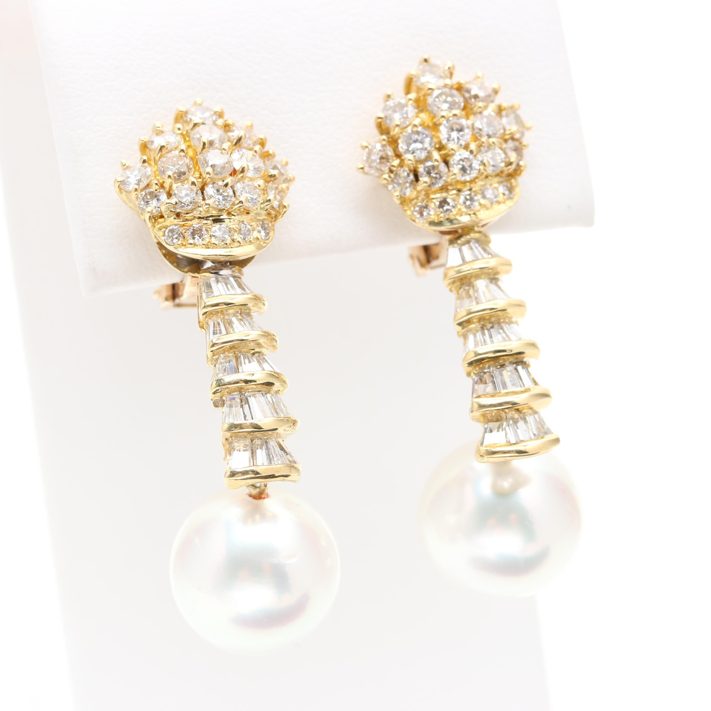18K and 14K Yellow Gold South Sea Pearl and 2.98 CTW Diamond Dangle Earrings