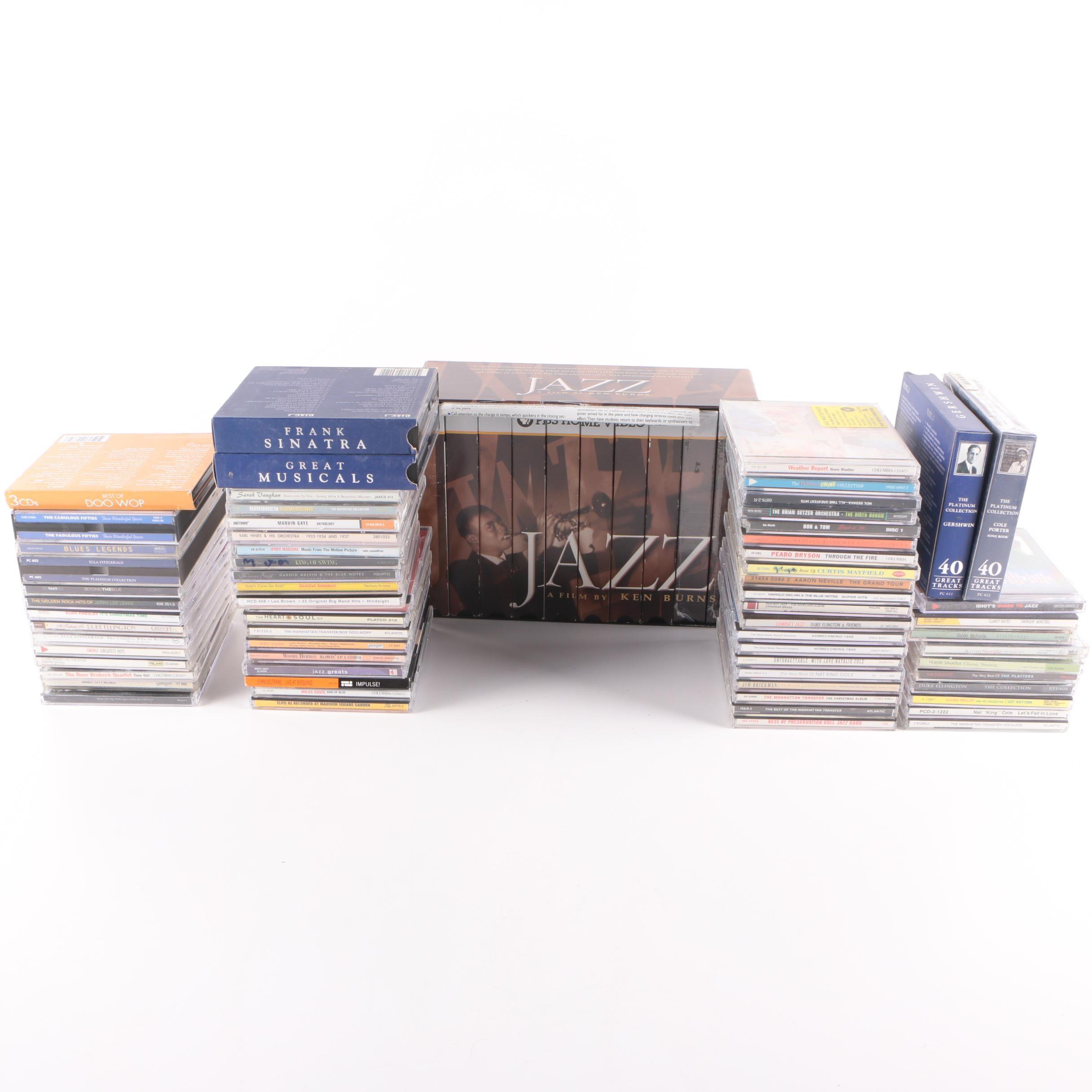 "Ken Burns ""Jazz"" VHS Box Set And Jazz, Blues, Doo-Wop And More CDs"