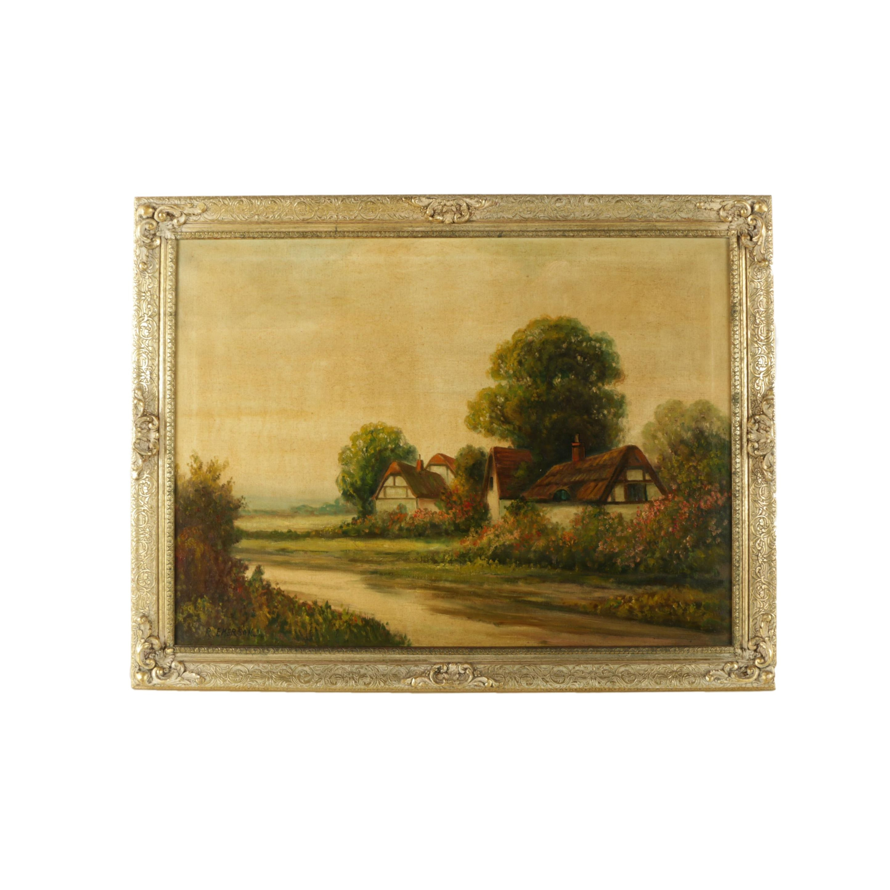 R. Emerson Oil Painting on Canvas of English Landscape with Thatched Cottages