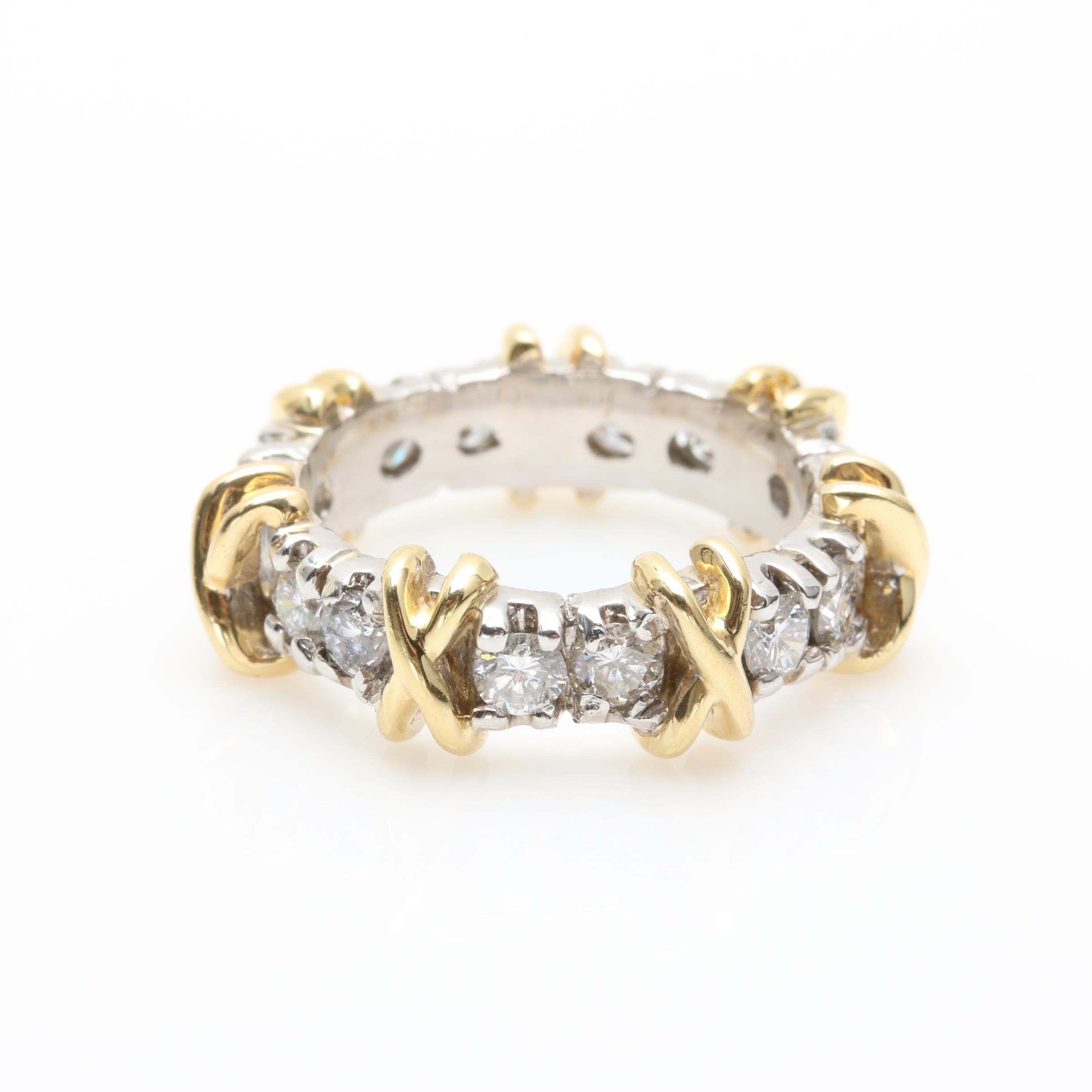 14K Yellow Gold and Platinum 1.33 CTW Diamond Ring