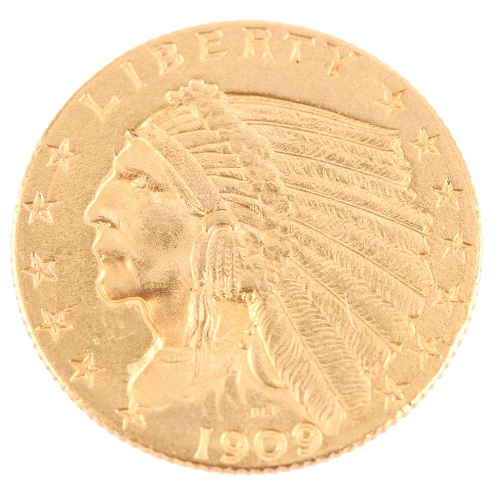 1909 Indian Head $2.50 Gold Quarter Eagle