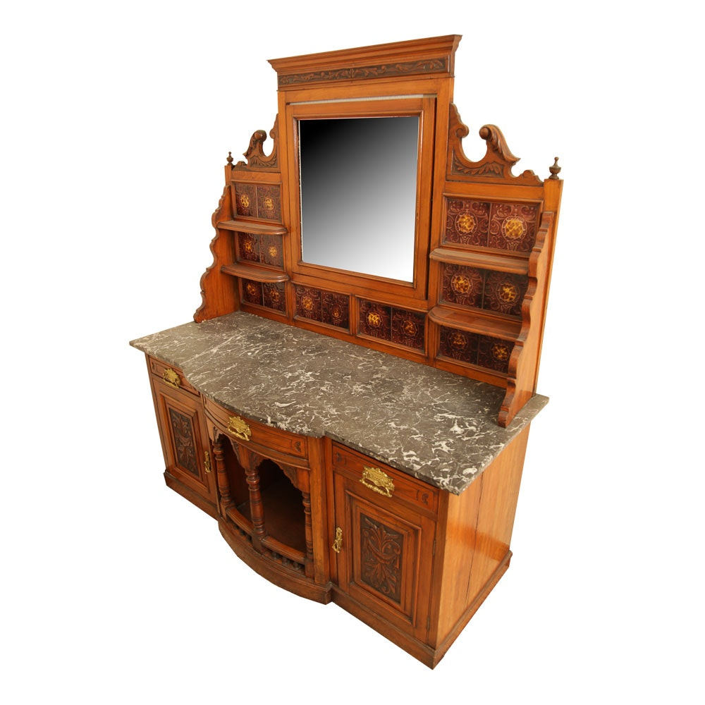 Antique Late Victorian Mahogany Washstand