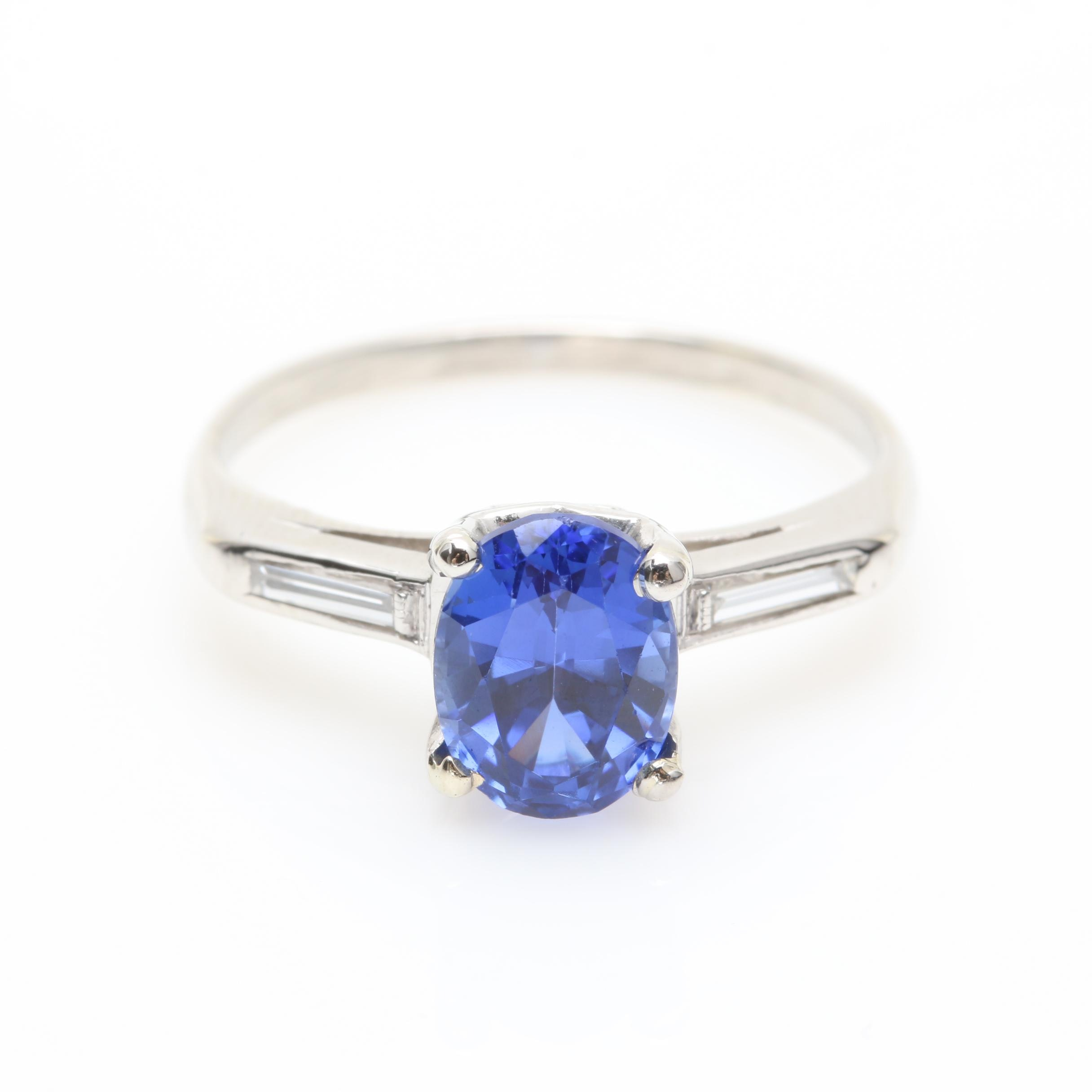 Platinum Synthetic Sapphire and Diamond Ring