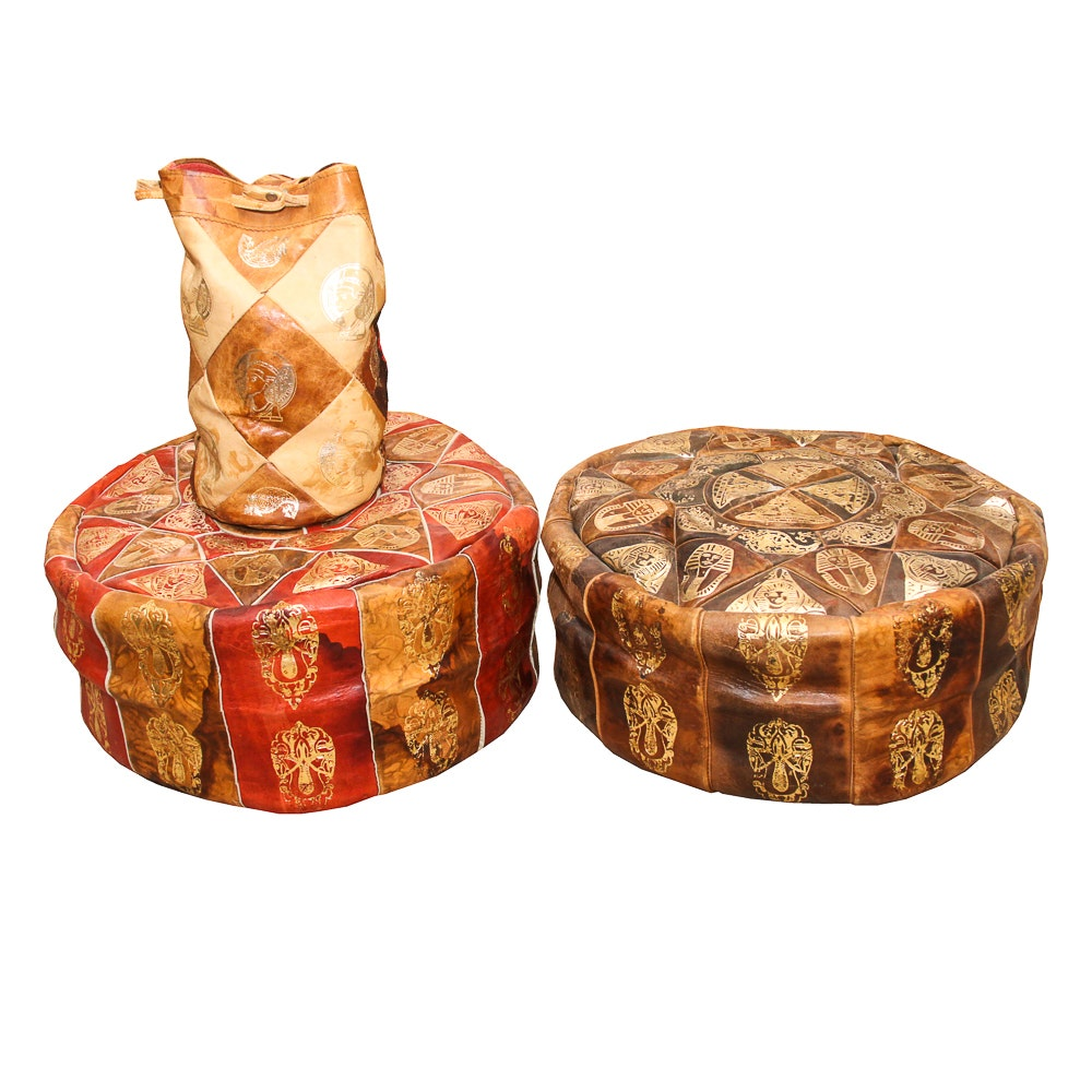 Two Egyptian Leather Poufs and Satchel