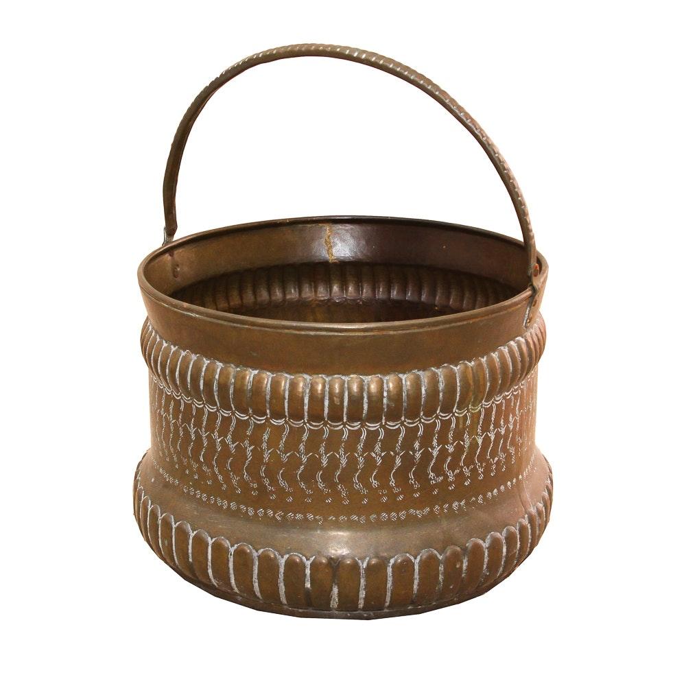 Vintage Brass Ornate Bucket