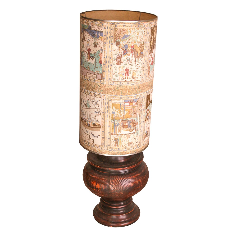 Vintage Table Lamp with Mid-Eastern Inspired Pictorial Lamp Shade