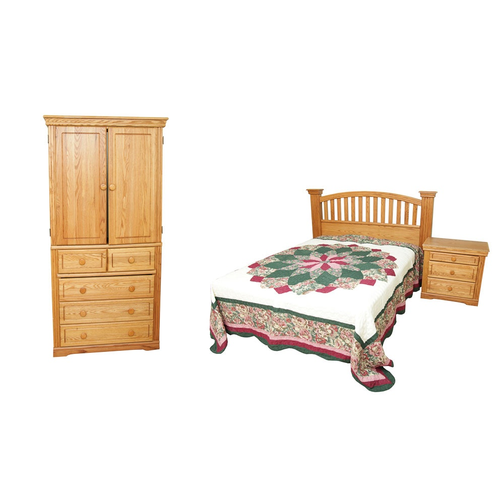 Oak Queen Bed Frame, Nightstand and Wardrobe by Orman Grubb