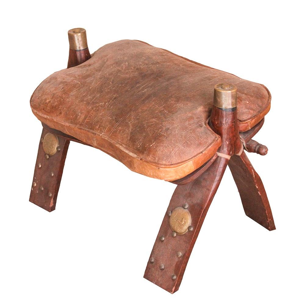 Egyptian Leather Padded Camel Saddle Stool