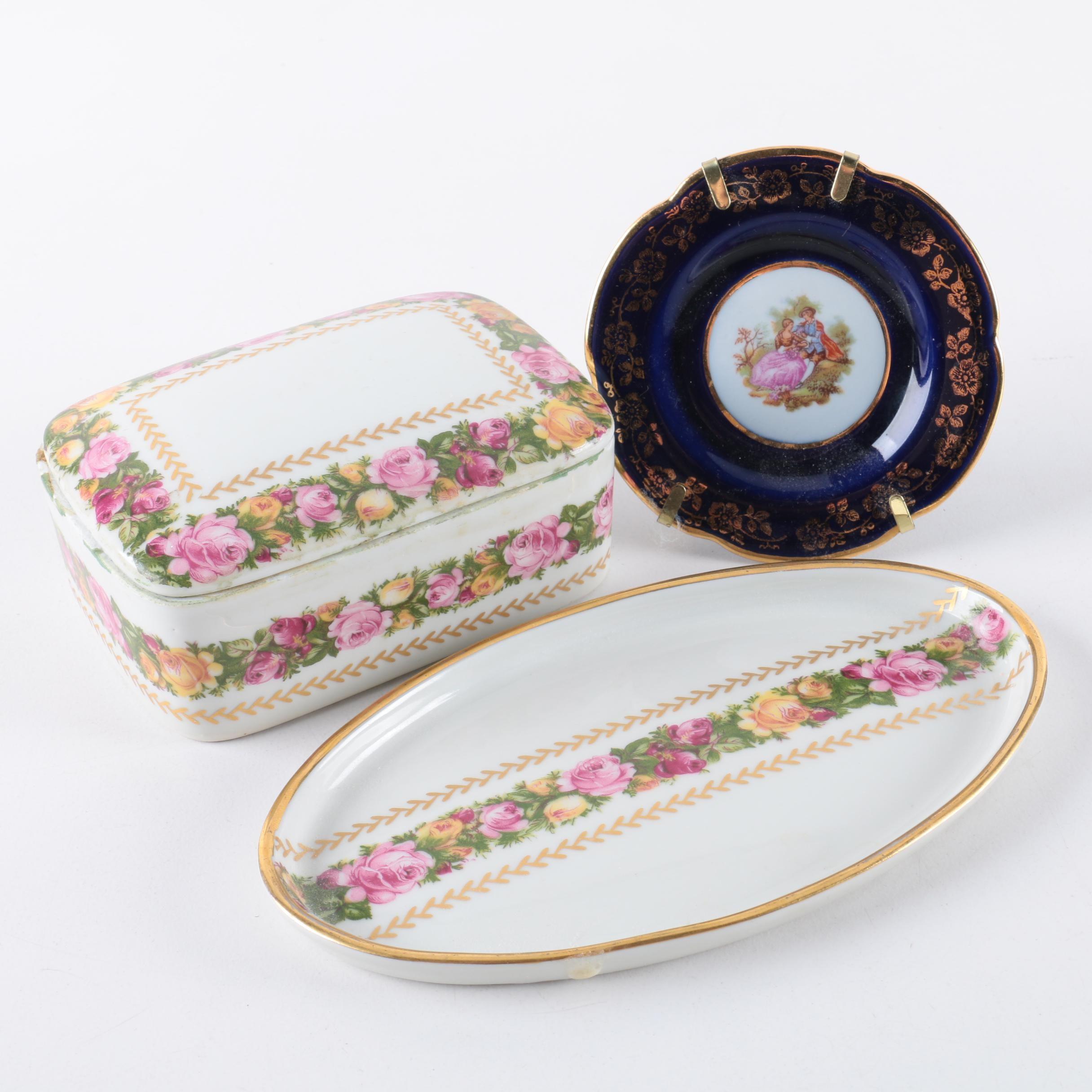 Limoges Porcelain Plates and Trinket Box
