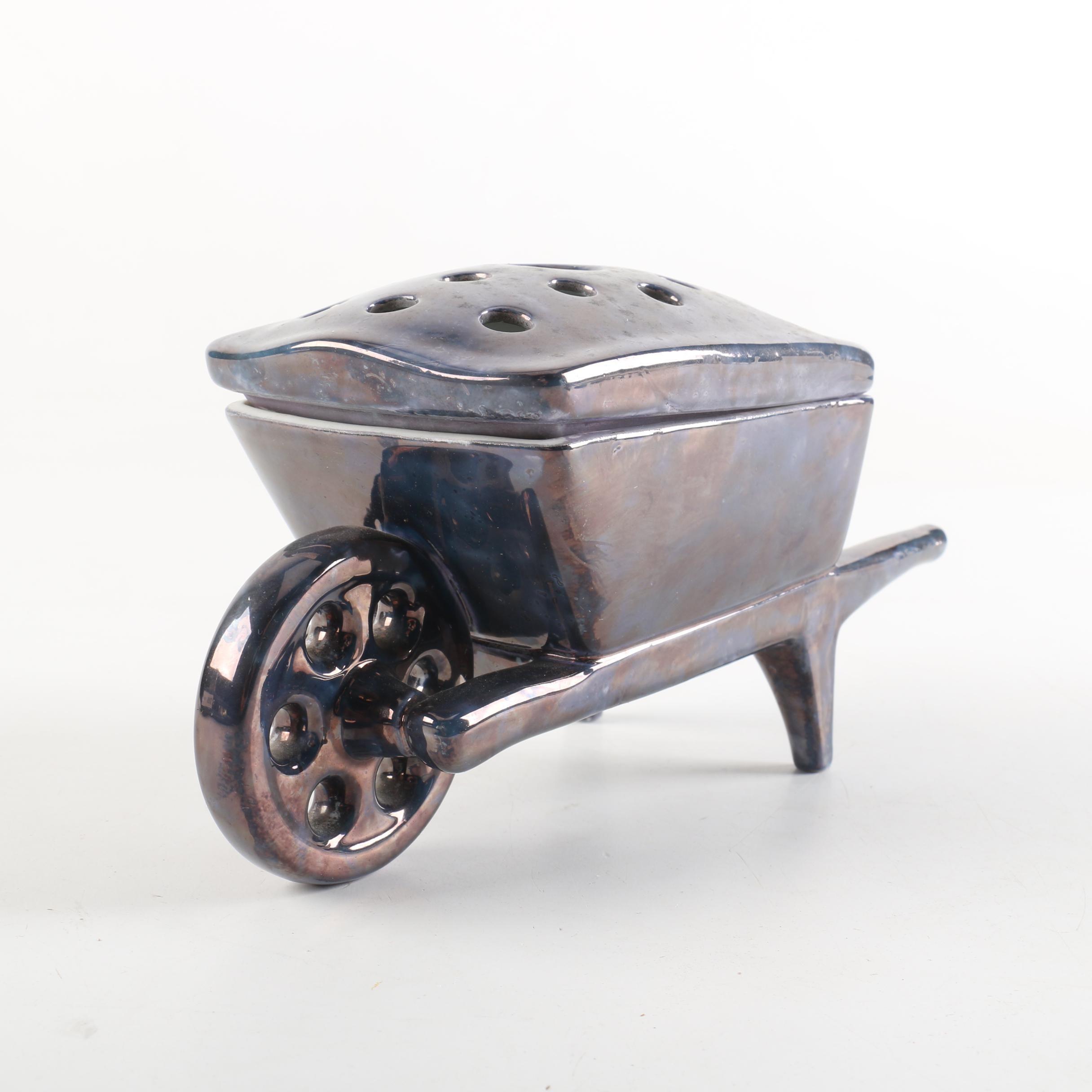 Wagon Shaped Ceramic Flower Frog
