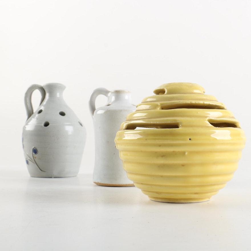 Vintage Art Pottery Flower Frog Vases Featuring Mid Century Camark