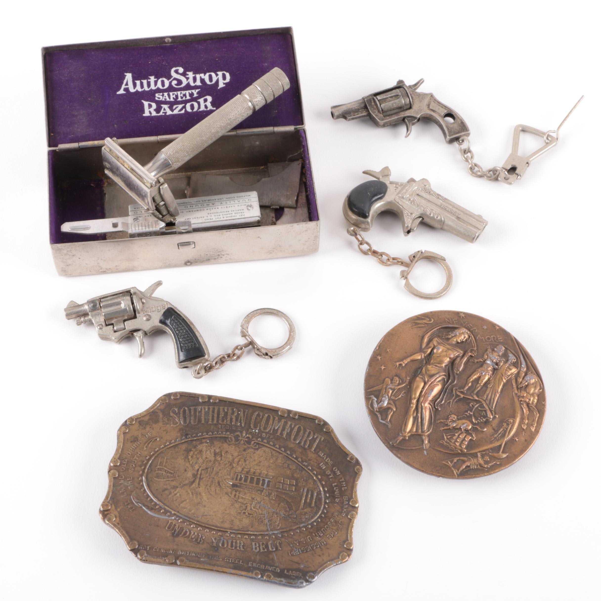 Assorted Belt Buckle, Key Rings and Razor Kit