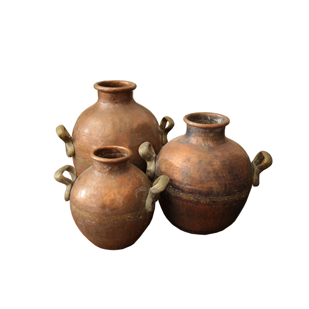 Antique Hand Hammered Dovetail Seamed Copper Jugs