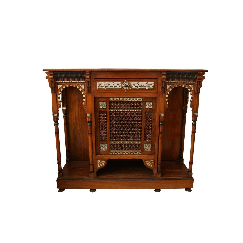 Vintage Moroccan Inlaid Mahogany Cabinet