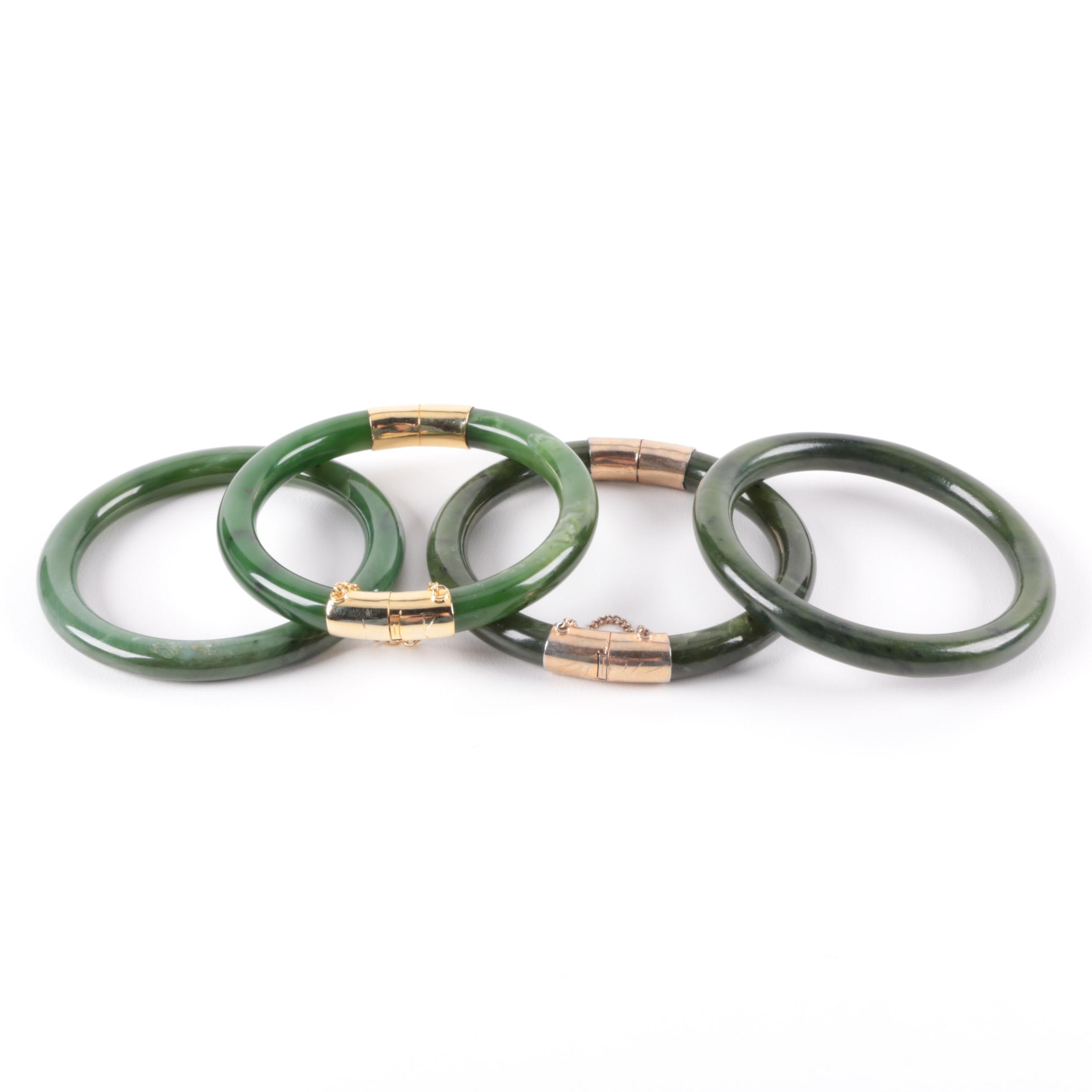 Selection of Gold Tone Nephrite Bangle Bracelets