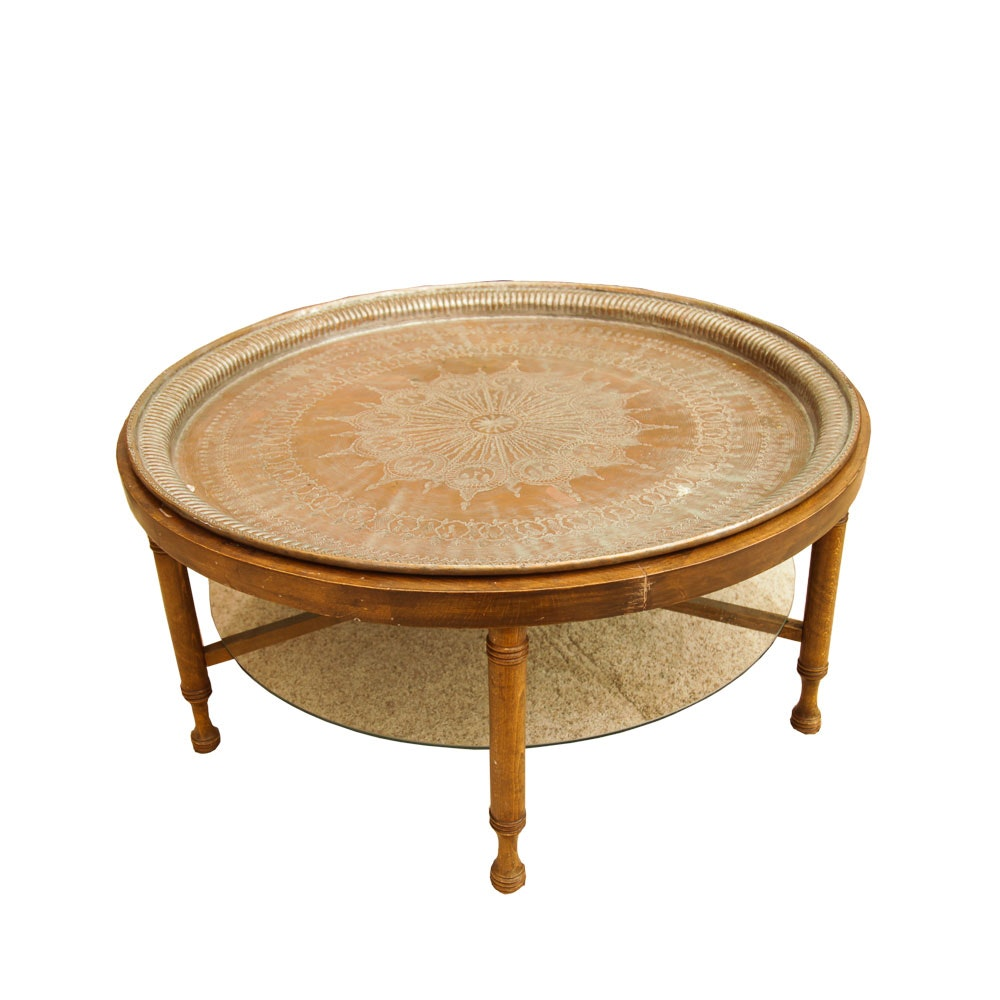 Turkish Embossed Copper Tray Table