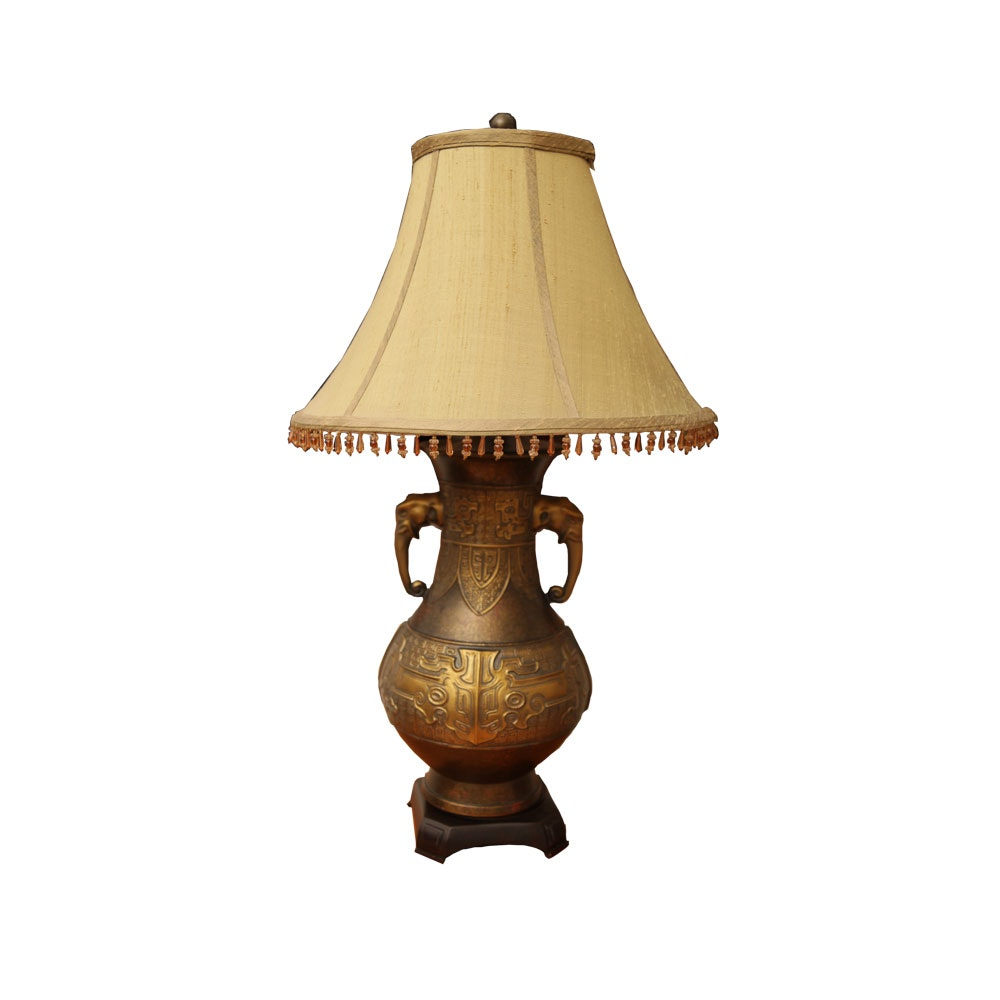 Embossed Elephant Themed Table Lamp
