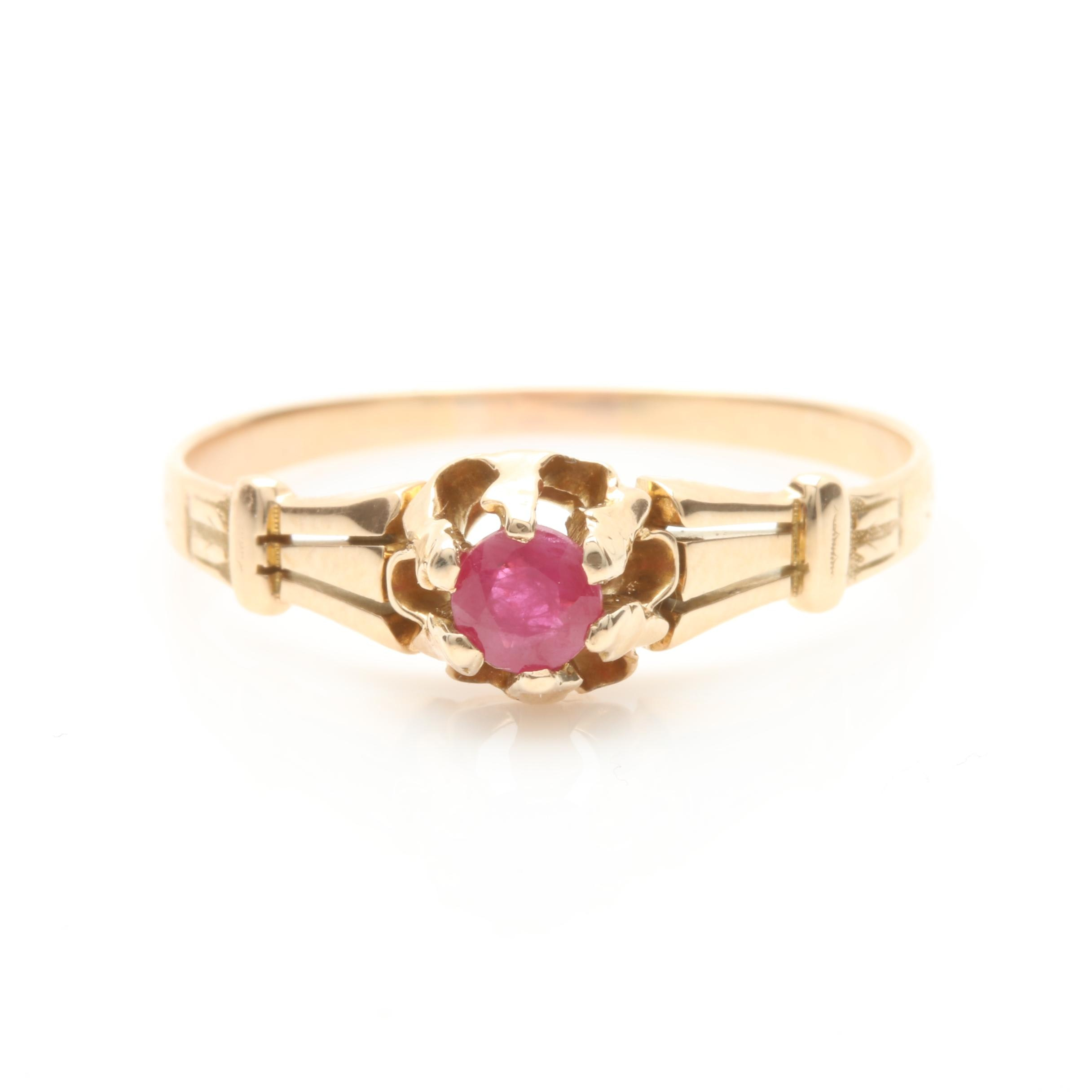 Late Victorian 14K Yellow Gold Ruby Ring