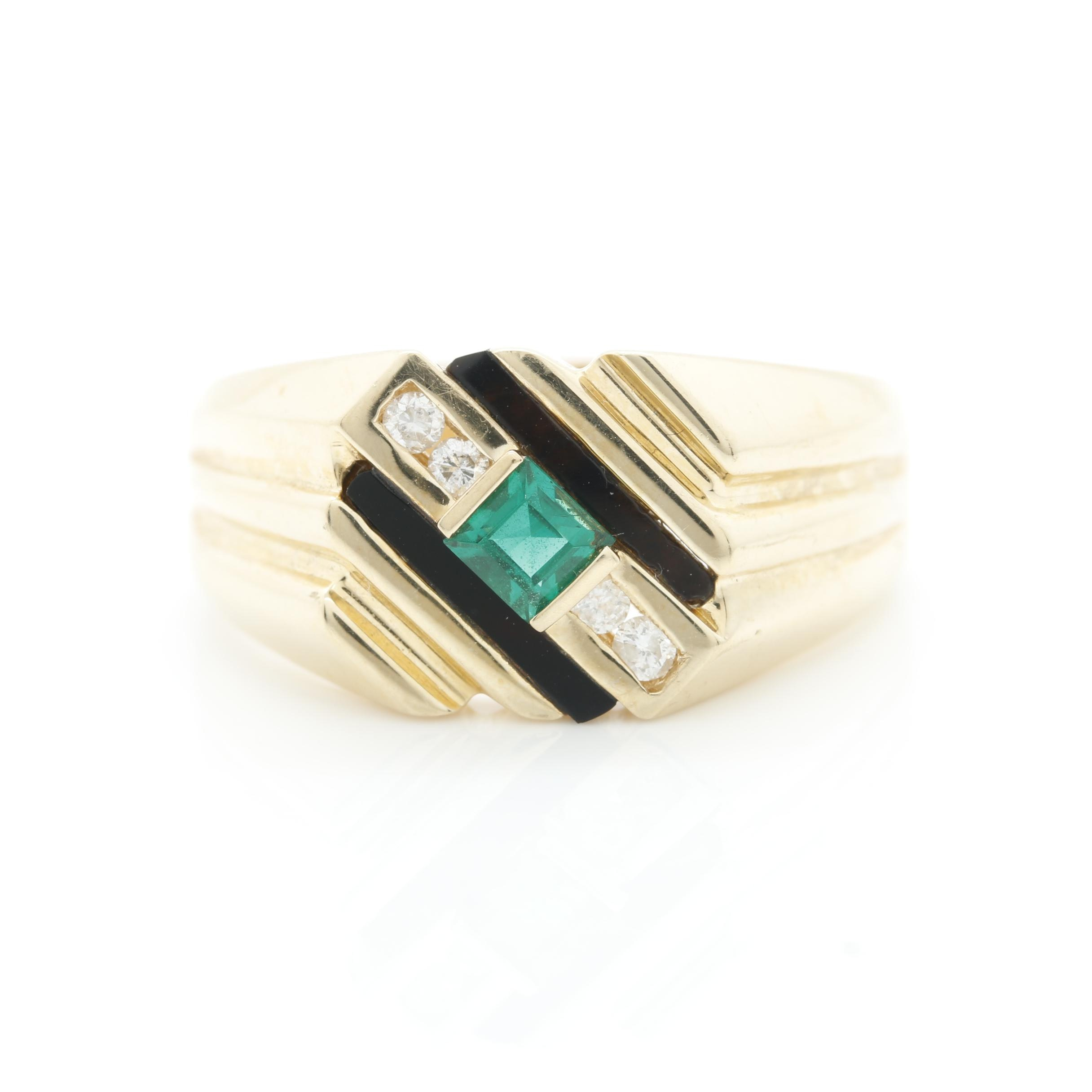 14K Yellow Gold Synthetic Emerald, Onyx, and Diamond Ring