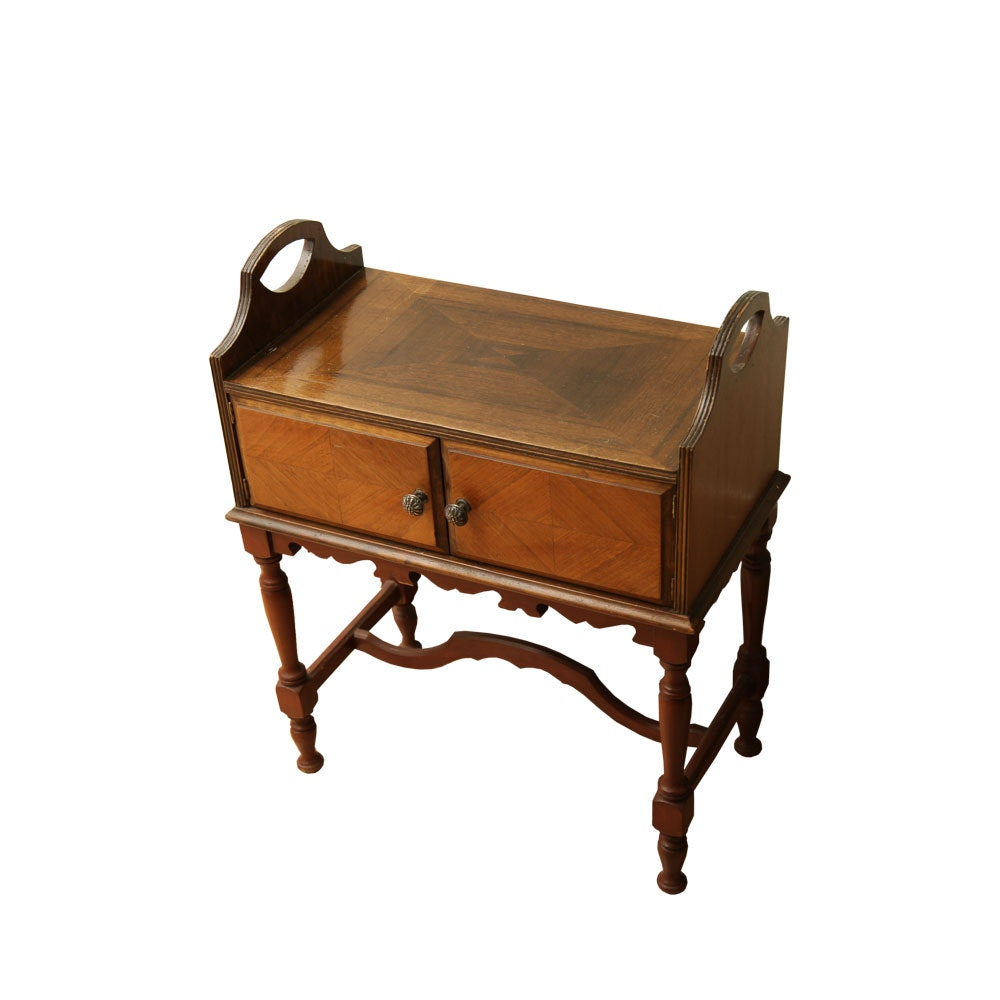 Vintage Walnut Humidor Side Table