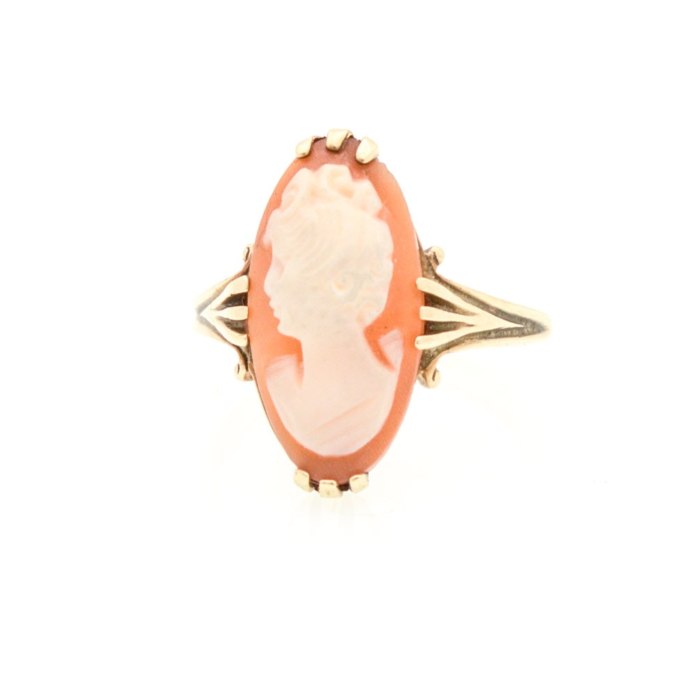 10K Yellow Gold and Shell Cameo Ring