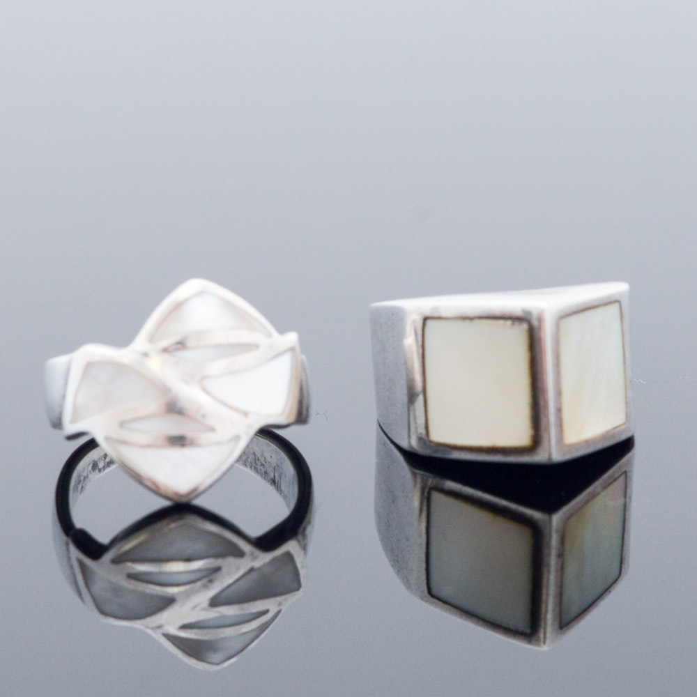 Sterling Silver and Mother of Pearl Rings