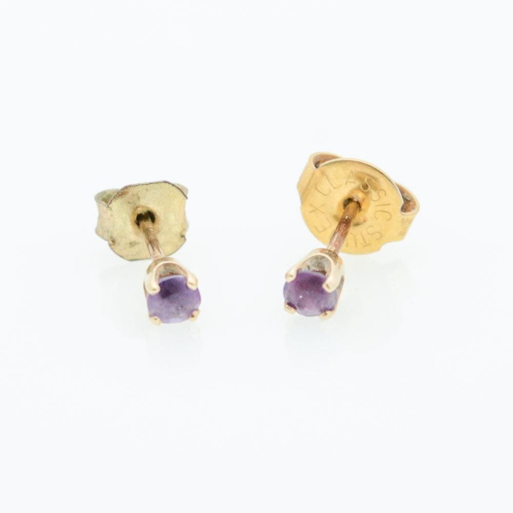 Vintage 14K Gold Amethyst Earrings