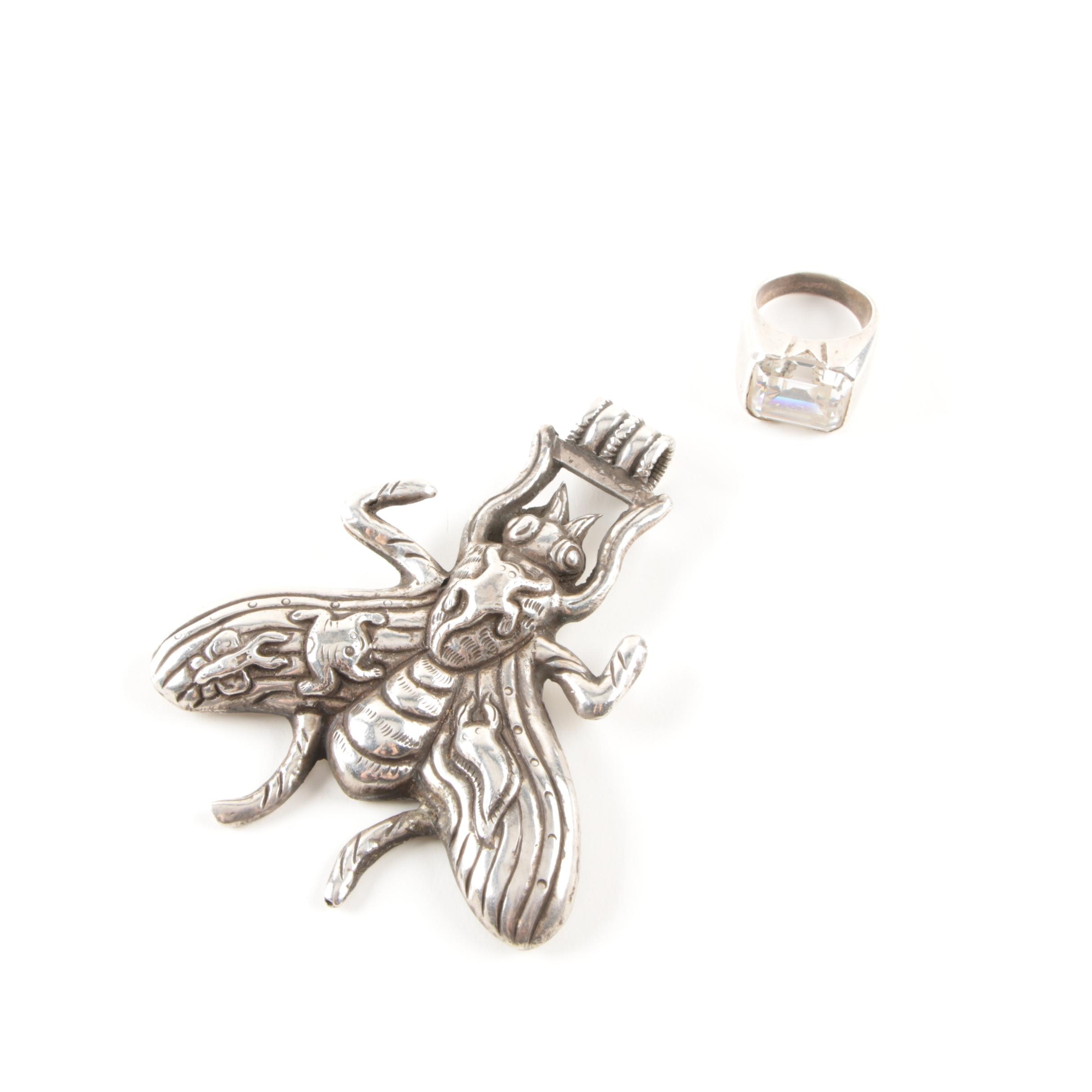 Sterling Silver Jewelry Including CZ Ring and Embossed Bee Pendant