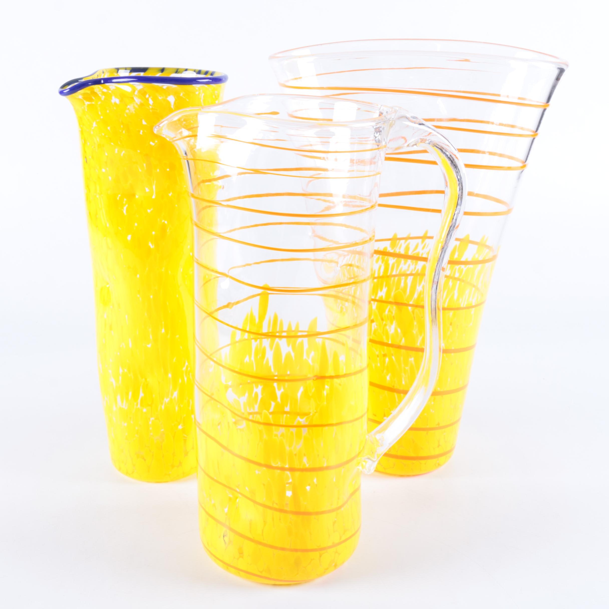 Hand Blown Art Glass Pitchers and Vase