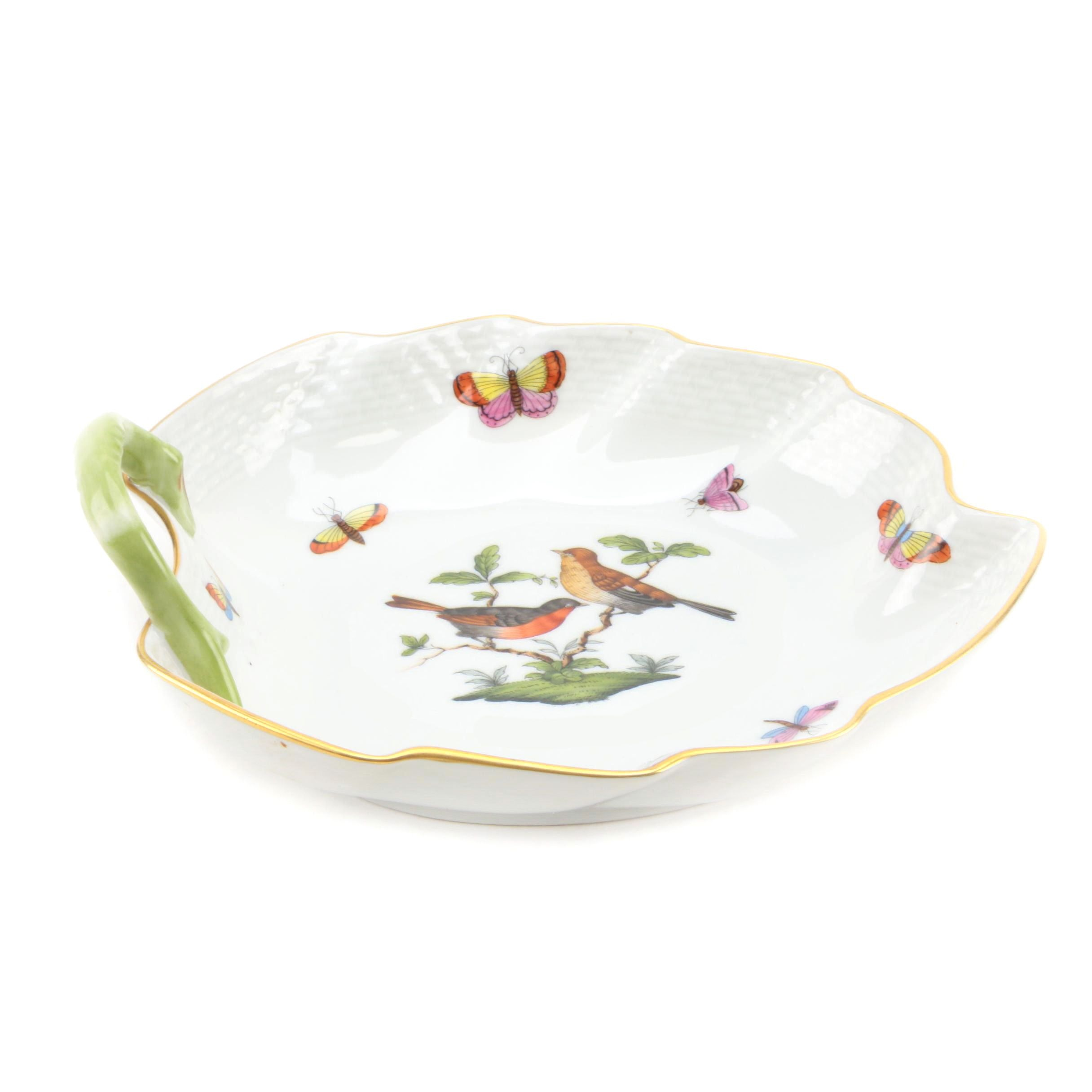 """Herend Hungary """"Rothschild Bird"""" Hand Painted Porcelain Leaf Dish"""