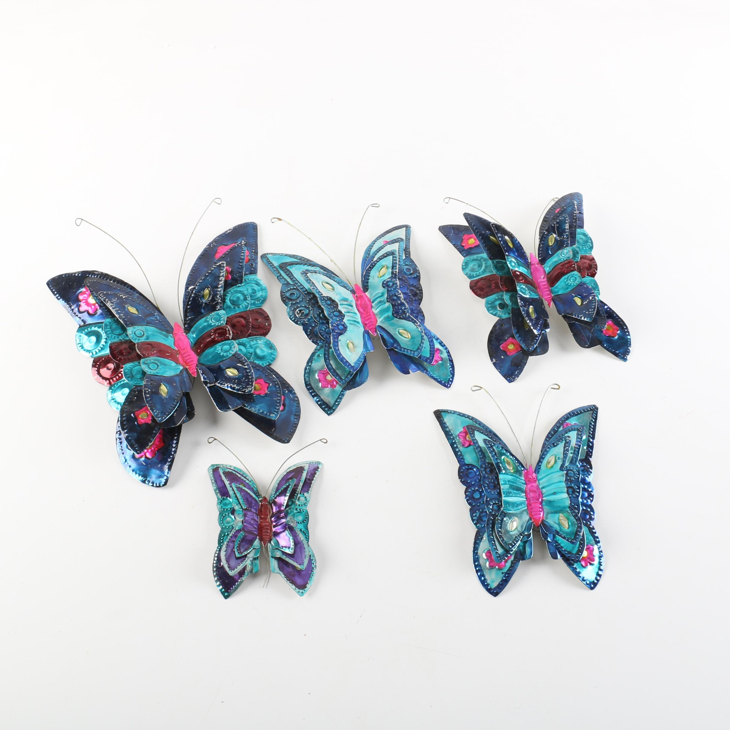 Collection of Painted Metal Butterfly Wall Decor