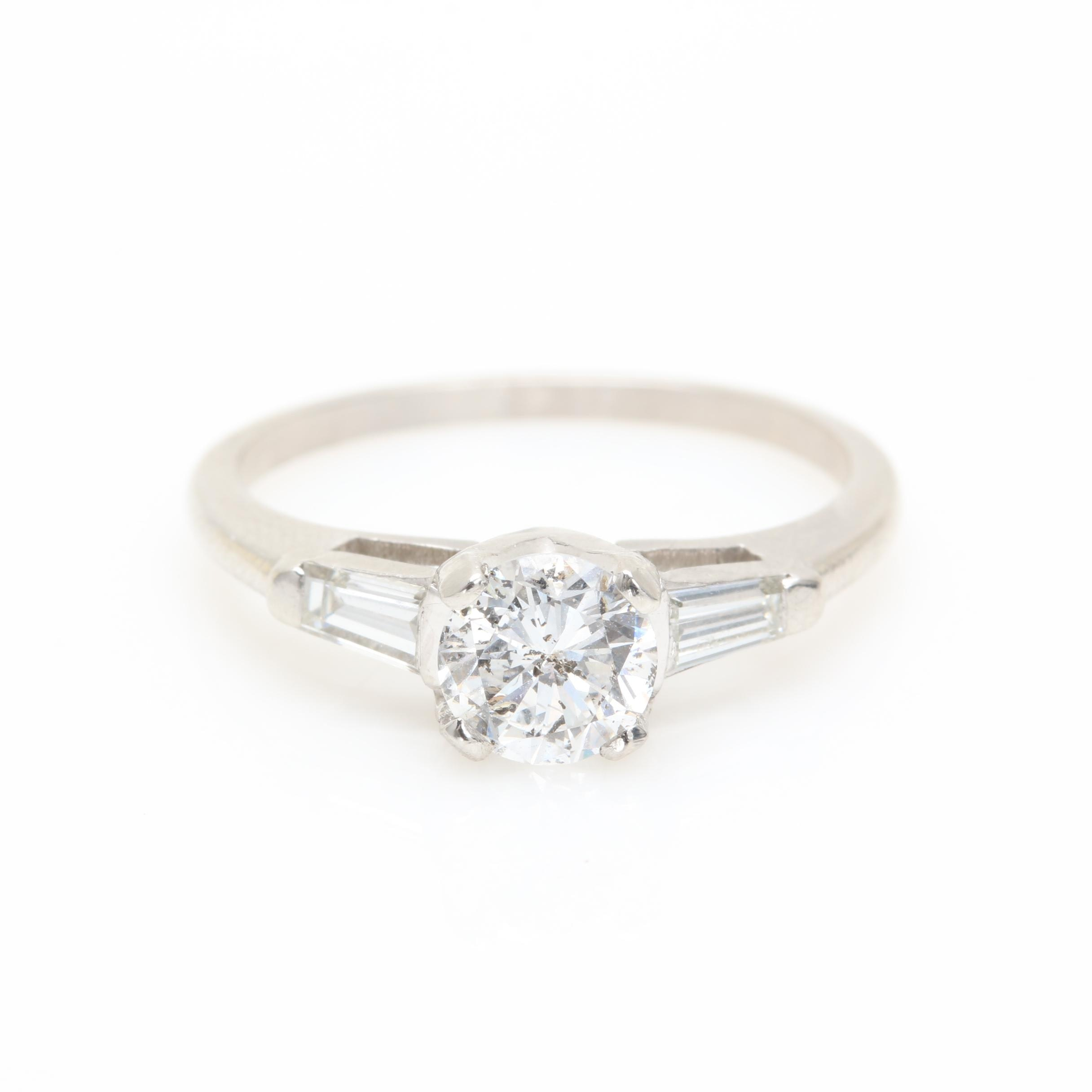 Platinum 0.96 CTW Diamond Ring