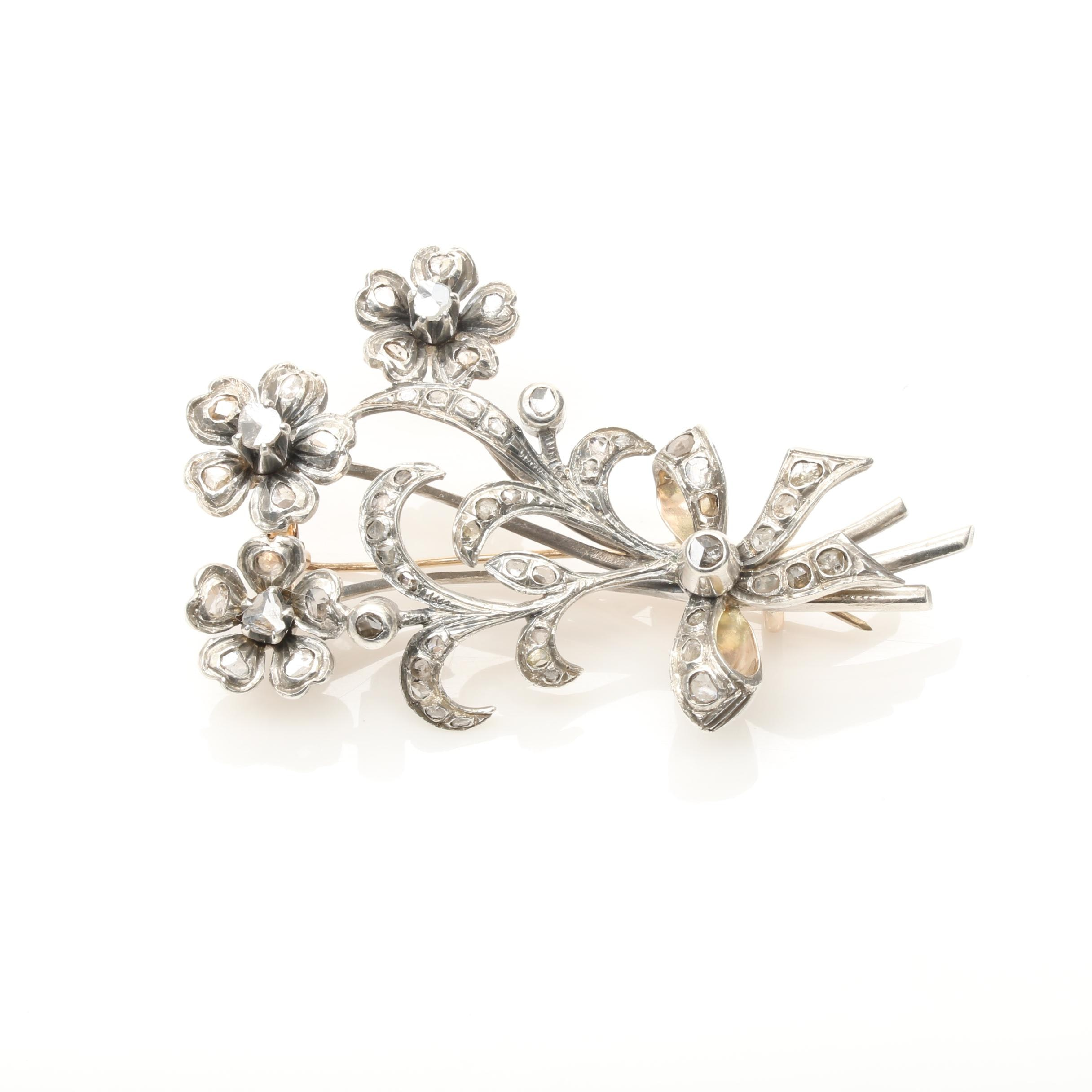 Sterling Silver and 10K White Gold Diamond Floral Brooch