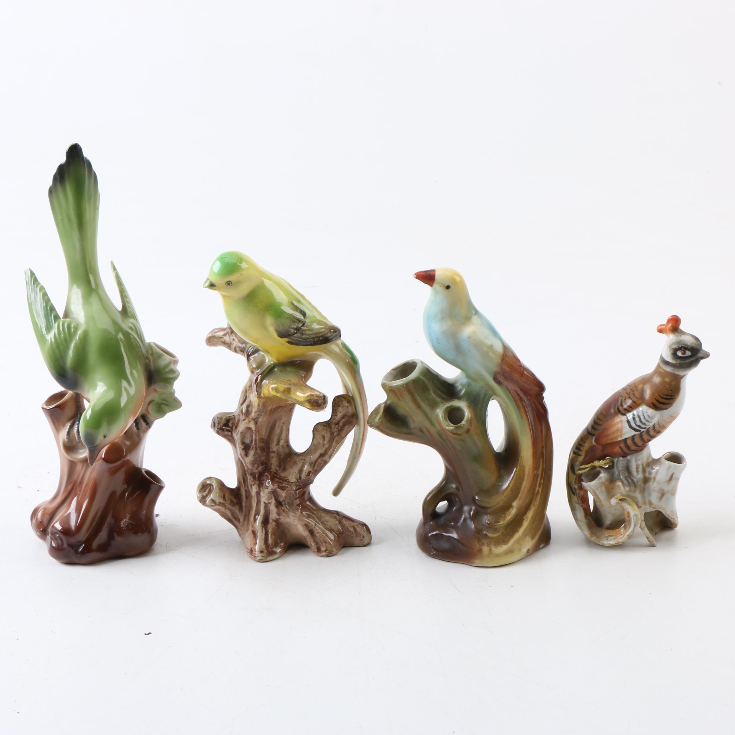 Vintage Figural Bird Flower Frogs with a Bird Figurine