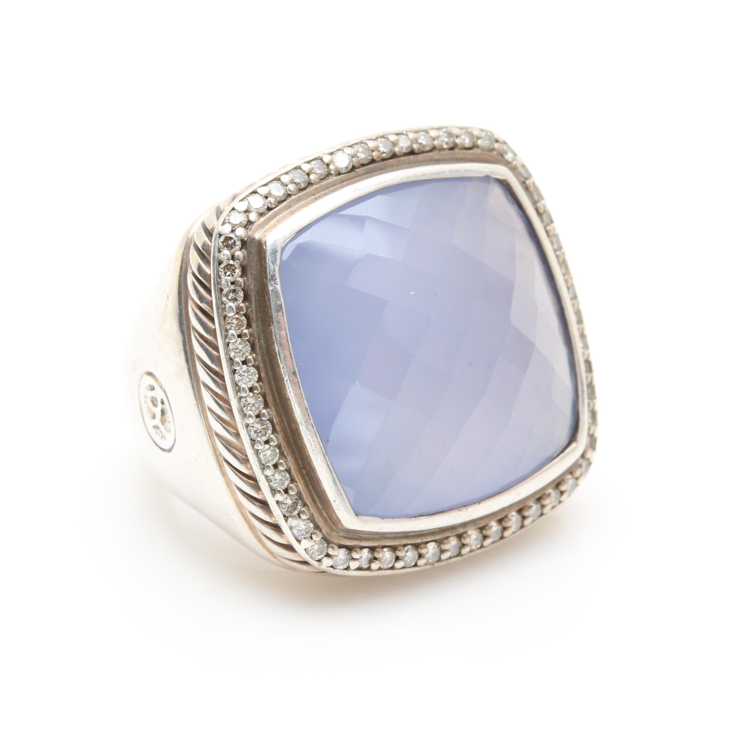 "David Yurman ""Albion"" Sterling Silver Chalcedony and Diamond Ring"